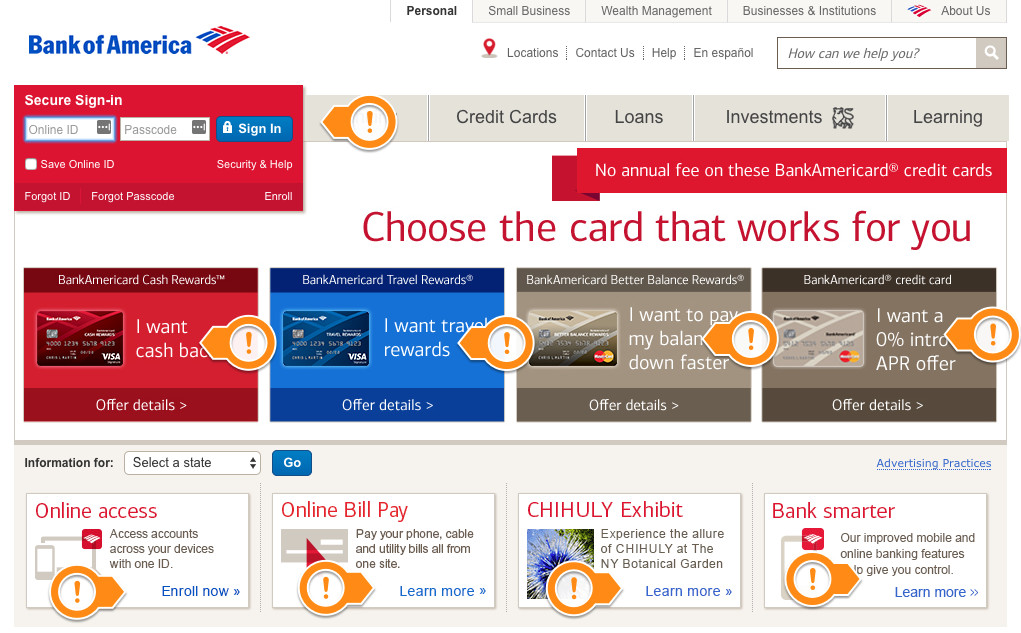 Bank of America UX Design Issues