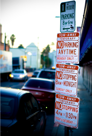 Parking signs in Los Angeles
