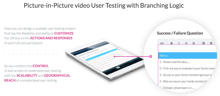 Picture-in-Picture Video User Testing with Branching Logic